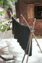 Jpeg 24K Hanks of dyed cotton hanging out to dry - Amarapura, Shan State 9809e31.jpg