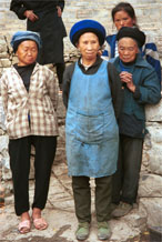 to Jpeg 156K Iron Beating Miao older women wearing their every day clothing, Gao Zhai village, Bai Jin township, Huishui county, Guizhou province 0110C31