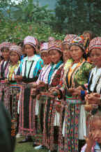 Jpeg 56K White Miao women welcoming us with gourd cups full of alcohol in Ma Wo village, Zhe Lang township, Longlin county, Guangxi province 0010j02.jpg