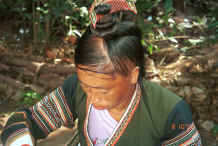 Jpeg 35K Side Comb Miao married woman showing how her hair is twisted into a coil on top of her head and the 'side comb', which gives the group their Han nickname, placed in the top of the coil - Pao Ma Cheng village, Teng Jiao township, Xingren country, Guizhou province 0010n22.jpg