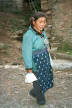 Jpeg 28K Side Comb Miao woman walking through a village beside the road - after leaving Hou Chang township for Puding, Guizhou 0010z06.jpg