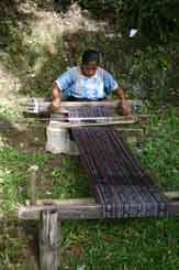 to 55K Jpeg 0188 Weaving a lenghth of fabric for a sarong - one of the weavers of Watublapi, Flores, who use homegrown cotton and natural dyes for their weaving, showing their traditional weaving skills (2004).