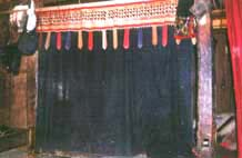 "15. to Jpeg 47K Phaa kang room divider in late Sipsong Tjao Tai Style, made by Tai Dam, Houa Phan province. The pattern has been applied with applique technique. 134 x 194 cm. Fig. 9.30. page 218 in ""Lao-Tai Textiles: The Textiles of Xam Nuea and Muang Phuan"" by Patricia Cheesman and published by Studio Naenna Co in 2004."