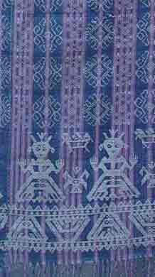 to Jpeg 51K A detail of an ancient blanket. These blankets have anthropomorphic and zoomorphic figures reminiscent of Chinese and possibly Indonesian design; Iloilo, Philippines