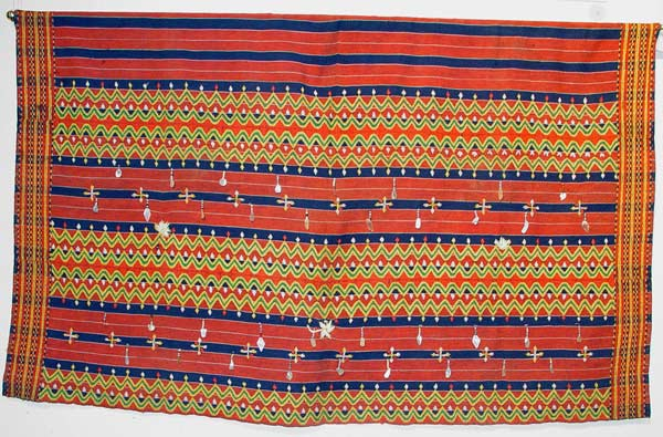 72K Jpg 18 - Kalinga woman's cotton wrap-around skirt with beadwork and mother of pearl fragments, Apayo Province and parts of Abra Province, Northern Luzon, 20th century. 70 cm x 112 cm
