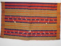 to 72K Jpg 18 - Kalinga woman's cotton wrap-around skirt with beadwork and mother of pearl fragments, Apayo Province and parts of Abra Province, Northern Luzon, 20th century. 70 cm x 112 cm