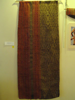 to 69K Jpg 19 - Tboli woman's abaka and ikat dress, Mindanao, late 19th or early 20th century. This garment was pounded with a wooden mallet after it was embroidered to create a glossy sheen. 62 cm x 150 cm