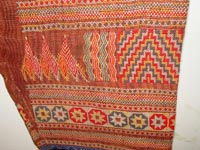 to 76K Jpg 20 - Detail 6 Bla'an man's abaka, cotton and embroidered jacket and trousers, Mindanao, 19th century. Jacket 145 cm x 58 cm x 41 cm, Trousers 43 cm x 53 cm