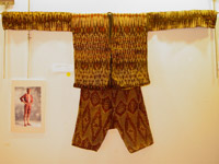 to 69K Jpg 22 - Bla'an (possibly T'boli) man's abaka and ikat jacket and trousers, Mindanao, early 20th century. Jacket 152 cm x 56 cm x 52 cm. Trousers 56 cm x 44 cm