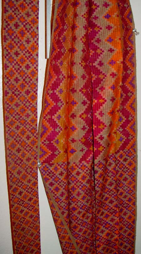 80K Jpg 24 - Detail of cotton sash with multi-colored ikat design, Mindanao, late 19th to early 20th century.