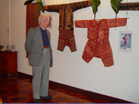 to 72K Jpg Dr Peter Reimann in front of a group of abaka textiles from Mindanao. Photo taken at the opening reception held in the evening of February 4, 2008 for the exhibition of Filipino textiles from the collection of Myunghee & Peter Reimann as exhibited at the Philippine Centre, Philippine Consultate General, New York from February 4-15, 2008.