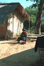 to Jpeg 35K A Yao woman sitting in the sunshine outside a house working on her embroidery in a village in the hills around Chiang Rai 8812q08.jpg