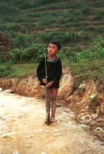 to Jpeg 47K Young Black Hmong boy with a bamboo stick with a wheel inserted in it's end in the hills around Sa Pa, Lao Cai Province 9510I29.JPG
