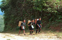 to 21K photo gallery.  Black Hmong girls climbing back to their village in the hills around Sa Pa, Lao Cai Province 9510K15.JPG