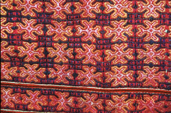 Embroidery from Black Hmong baby carrier collected in Sa pa, Northern Vietnam